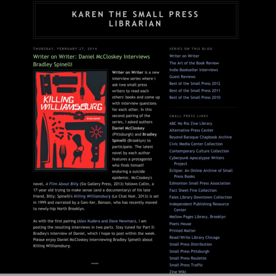 Karen Small Press-Spinelli interview-Screen shot-